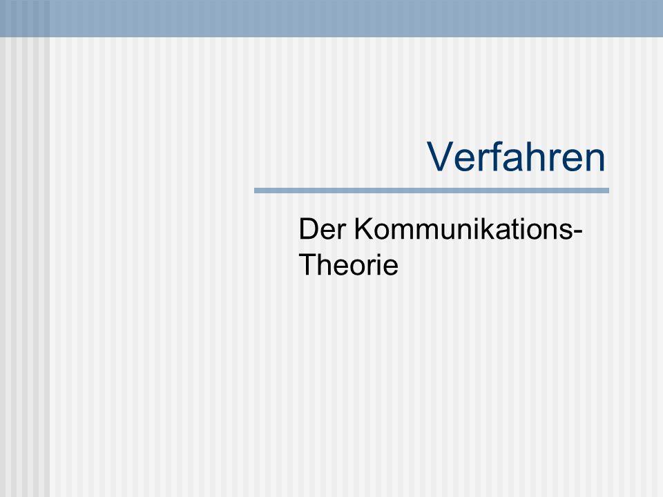 Verfahren Der Kommunikations- Theorie