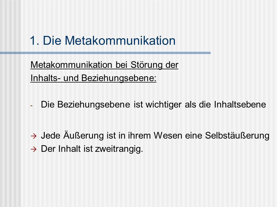 1. Die Metakommunikation Metakommunikation bei Störung der Inhalts- und Beziehungsebene: - Die Beziehungsebene ist wichtiger als die Inhaltsebene Jede