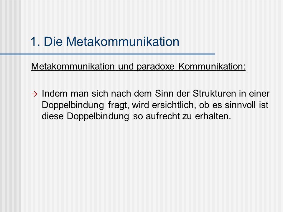 1. Die Metakommunikation Metakommunikation und paradoxe Kommunikation: Indem man sich nach dem Sinn der Strukturen in einer Doppelbindung fragt, wird