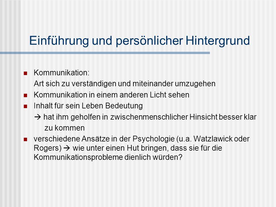 Einführung und persönlicher Hintergrund Kommunikation: Art sich zu verständigen und miteinander umzugehen Kommunikation in einem anderen Licht sehen I