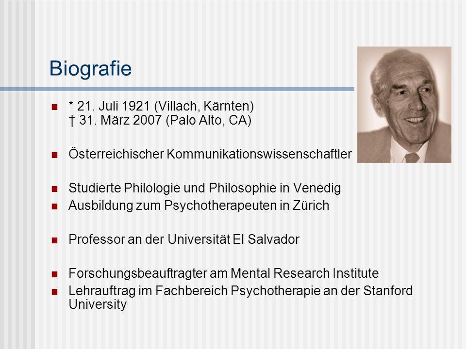 Biografie * 21. Juli 1921 (Villach, Kärnten) 31. März 2007 (Palo Alto, CA) Österreichischer Kommunikationswissenschaftler Studierte Philologie und Phi