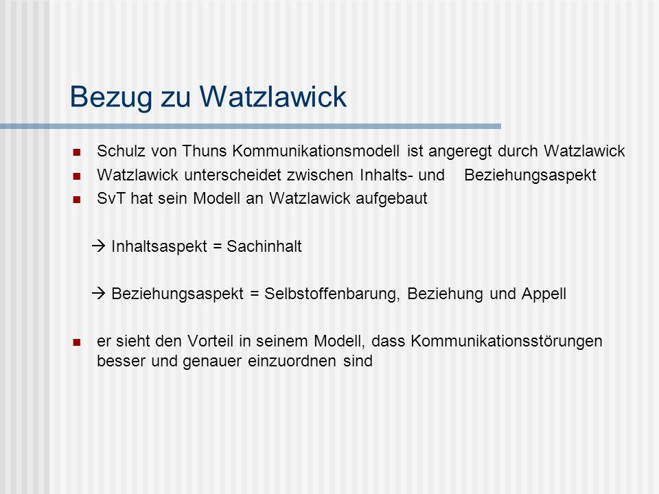 Bezug zu Watzlawick Schulz von Thuns Kommunikationsmodell ist angeregt durch Watzlawick Watzlawick unterscheidet zwischen Inhalts- und Beziehungsaspek