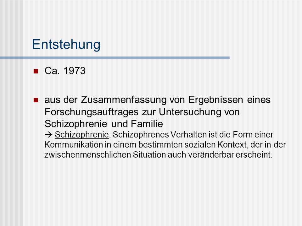 Entstehung Ca. 1973 aus der Zusammenfassung von Ergebnissen eines Forschungsauftrages zur Untersuchung von Schizophrenie und Familie Schizophrenie: Sc