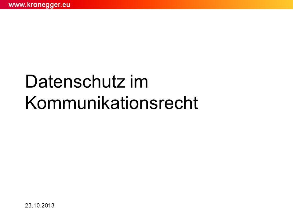 23.10.2013 Datenschutz im Kommunikationsrecht