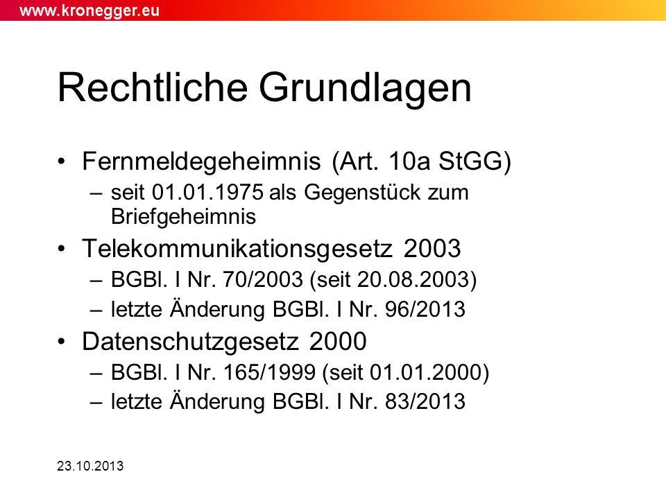 Rechtliche Grundlagen Fernmeldegeheimnis (Art. 10a StGG) –seit 01.01.1975 als Gegenstück zum Briefgeheimnis Telekommunikationsgesetz 2003 –BGBl. I Nr.