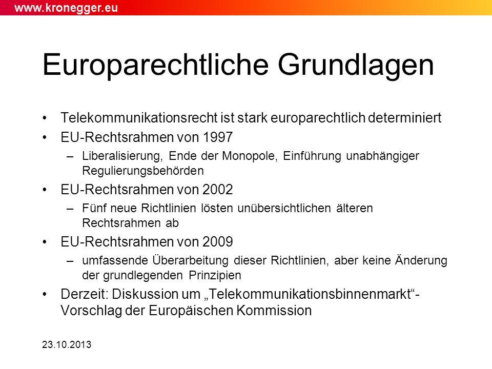 23.10.2013 Europarechtliche Grundlagen Telekommunikationsrecht ist stark europarechtlich determiniert EU-Rechtsrahmen von 1997 –Liberalisierung, Ende