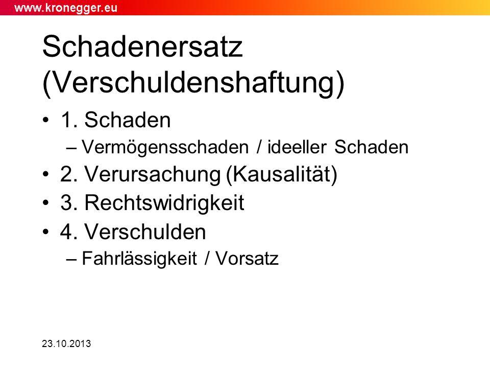 23.10.2013 Schadenersatz (Verschuldenshaftung) 1. Schaden –Vermögensschaden / ideeller Schaden 2. Verursachung (Kausalität) 3. Rechtswidrigkeit 4. Ver