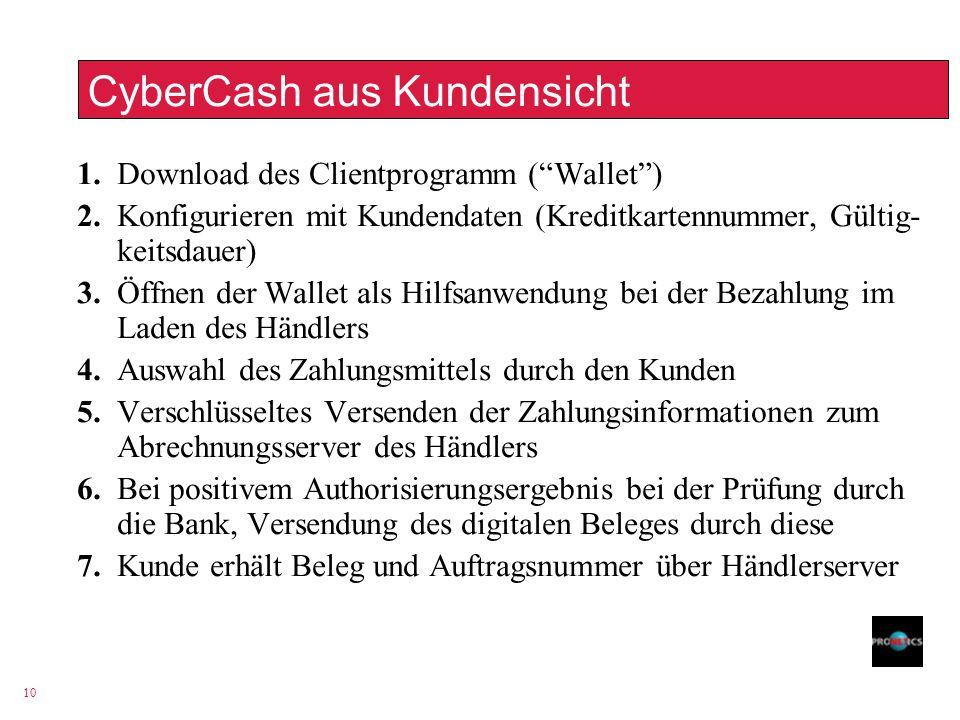 10 CyberCash aus Kundensicht 1. Download des Clientprogramm (Wallet) 2. Konfigurieren mit Kundendaten (Kreditkartennummer, Gültig- keitsdauer) 3. Öffn