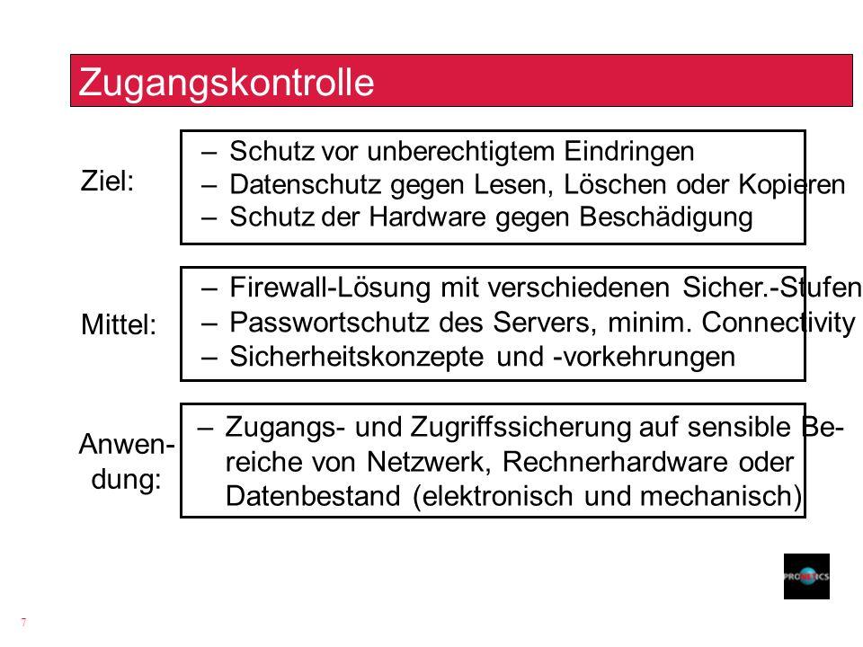 7 Zugangskontrolle Ziel: –Schutz vor unberechtigtem Eindringen –Datenschutz gegen Lesen, Löschen oder Kopieren –Schutz der Hardware gegen Beschädigung
