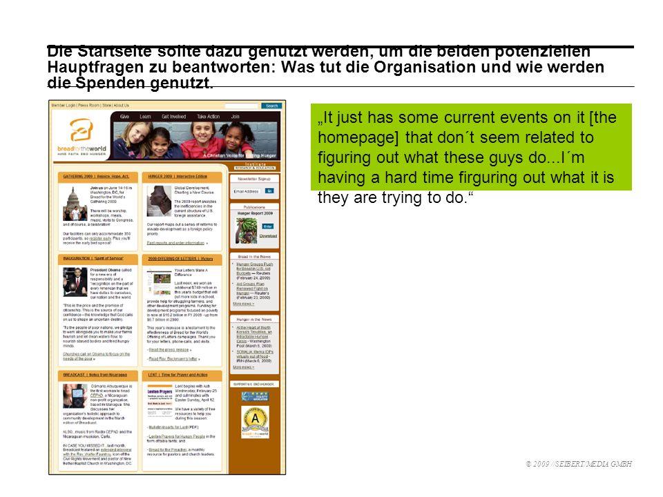Die Startseite sollte dazu genutzt werden, um die beiden potenziellen Hauptfragen zu beantworten: Was tut die Organisation und wie werden die Spenden genutzt.