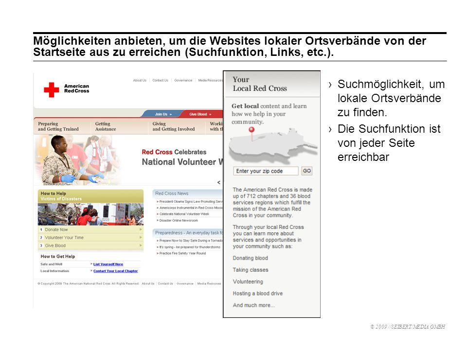 Möglichkeiten anbieten, um die Websites lokaler Ortsverbände von der Startseite aus zu erreichen (Suchfunktion, Links, etc.).