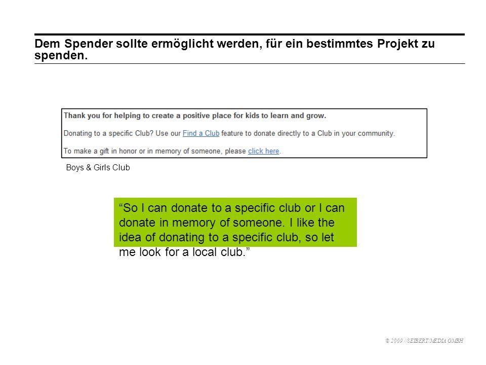 Dem Spender sollte ermöglicht werden, für ein bestimmtes Projekt zu spenden.