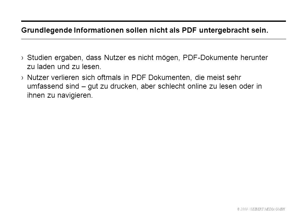 Grundlegende Informationen sollen nicht als PDF untergebracht sein.