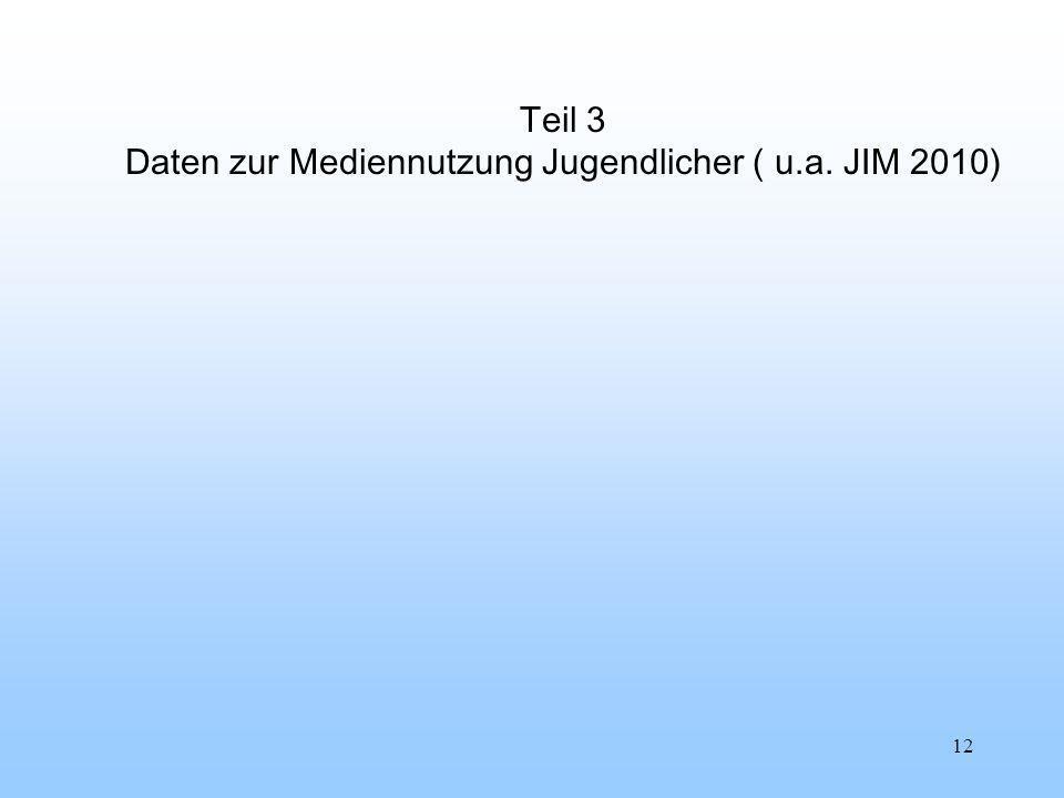 12 Teil 3 Daten zur Mediennutzung Jugendlicher ( u.a. JIM 2010)
