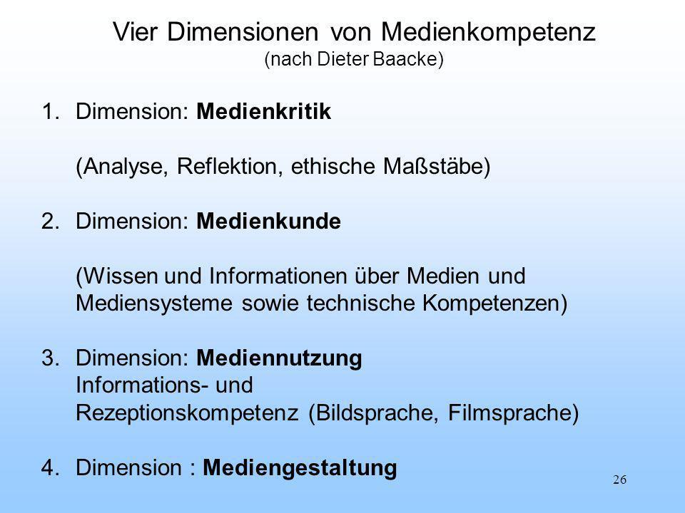 26 Vier Dimensionen von Medienkompetenz (nach Dieter Baacke) 1.Dimension: Medienkritik (Analyse, Reflektion, ethische Maßstäbe) 2.Dimension: Medienkunde (Wissen und Informationen über Medien und Mediensysteme sowie technische Kompetenzen) 3.Dimension: Mediennutzung Informations- und Rezeptionskompetenz (Bildsprache, Filmsprache) 4.Dimension : Mediengestaltung