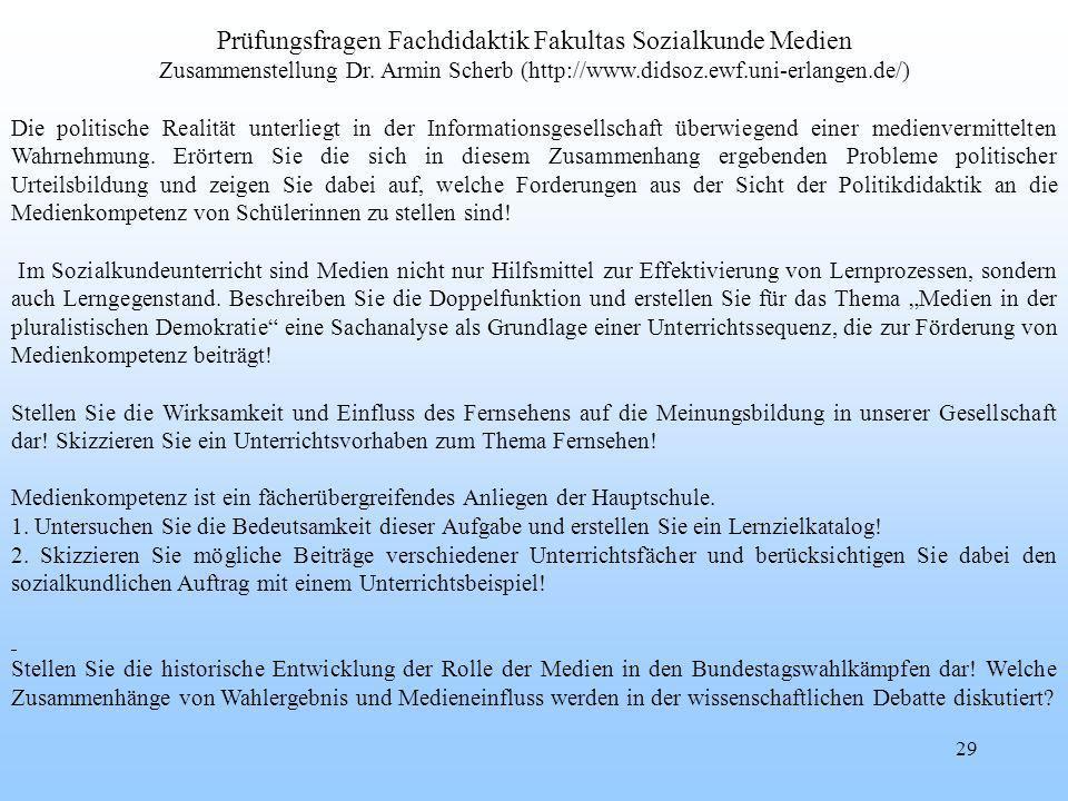 29 Prüfungsfragen Fachdidaktik Fakultas Sozialkunde Medien Zusammenstellung Dr.
