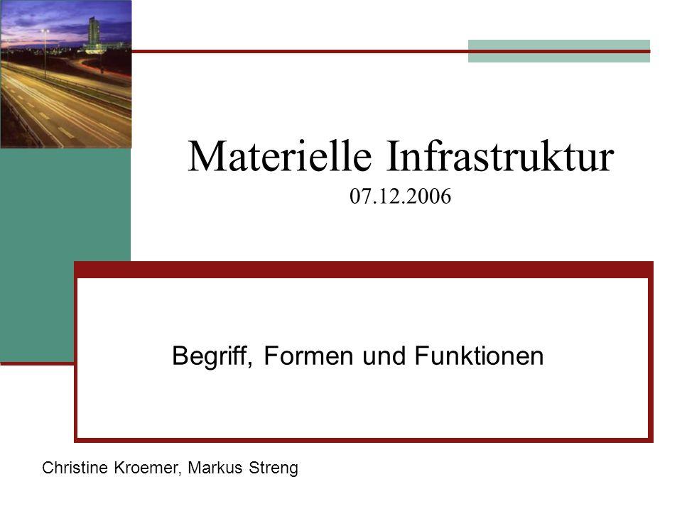 Materielle Infrastruktur 07.12.2006 Begriff, Formen und Funktionen Christine Kroemer, Markus Streng