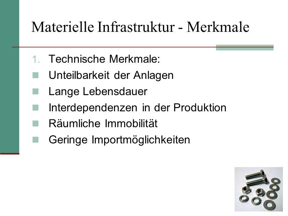 Materielle Infrastruktur - Merkmale 1. Technische Merkmale: Unteilbarkeit der Anlagen Lange Lebensdauer Interdependenzen in der Produktion Räumliche I