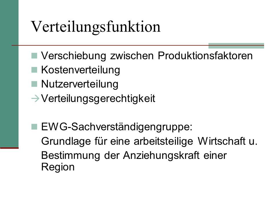 Verteilungsfunktion Verschiebung zwischen Produktionsfaktoren Kostenverteilung Nutzerverteilung Verteilungsgerechtigkeit EWG-Sachverständigengruppe: G