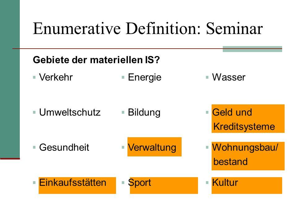 Enumerative Definition: Seminar Gebiete der materiellen IS? Verkehr Energie Wasser Umweltschutz Bildung Geld und Kreditsysteme Gesundheit Verwaltung W