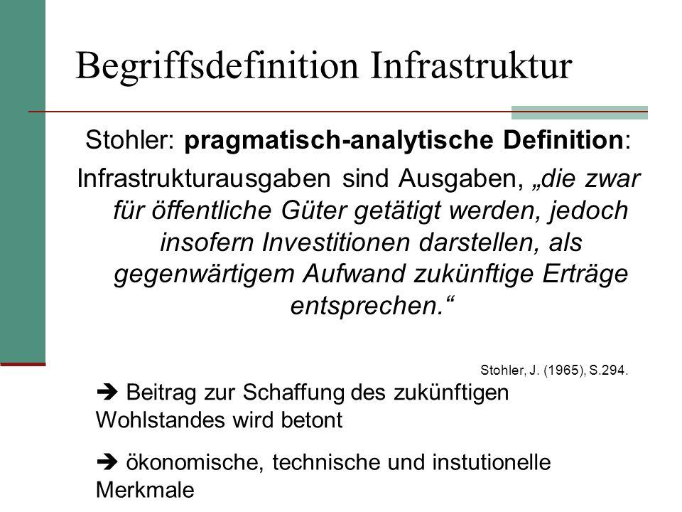 Begriffsdefinition Infrastruktur Stohler: pragmatisch-analytische Definition: Infrastrukturausgaben sind Ausgaben, die zwar für öffentliche Güter getä