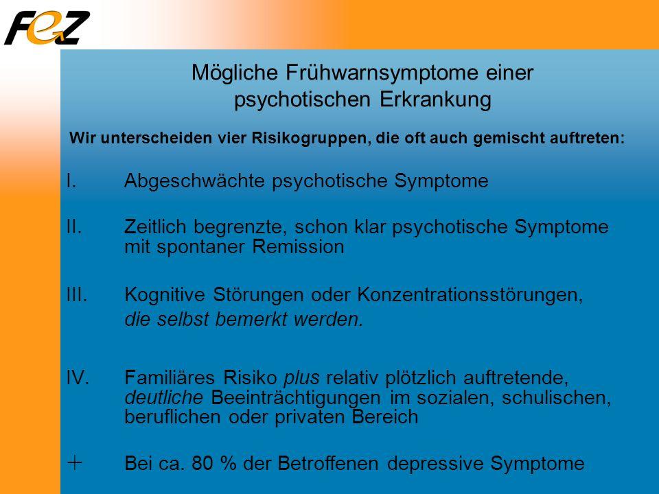 Mögliche Frühwarnsymptome einer psychotischen Erkrankung I.Abgeschwächte psychotische Symptome II.Zeitlich begrenzte, schon klar psychotische Symptome