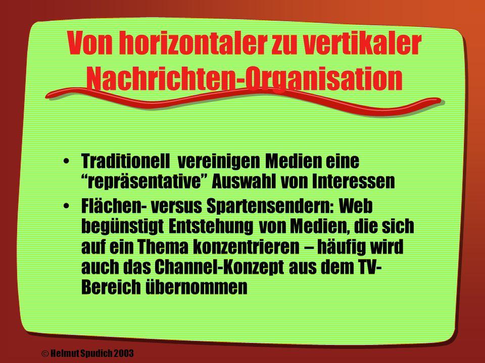 Entwicklung von Online-Medien: Konzentration & Diversifikation Konzentration & Diversifikation: Allgemeine Nachrichten von den Großen, Spezielle Nachrichten von kleinen Spezialisten © Helmut Spudich 2003