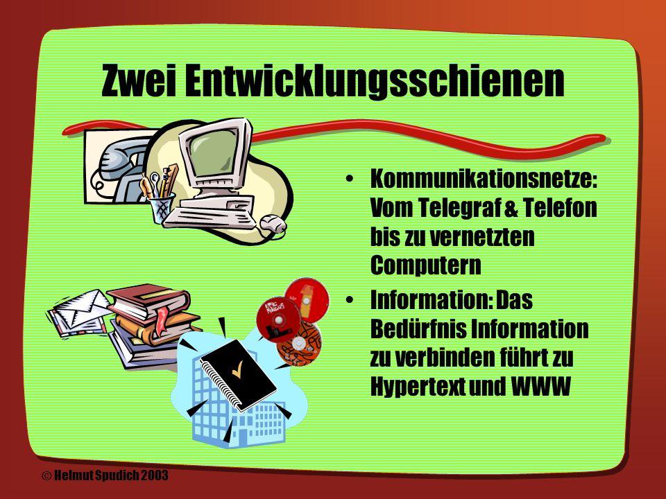 Internet & (World Wide) Web Eine kurze Geschichte der Entwicklung eines neuen Mediums © Helmut Spudich 2003