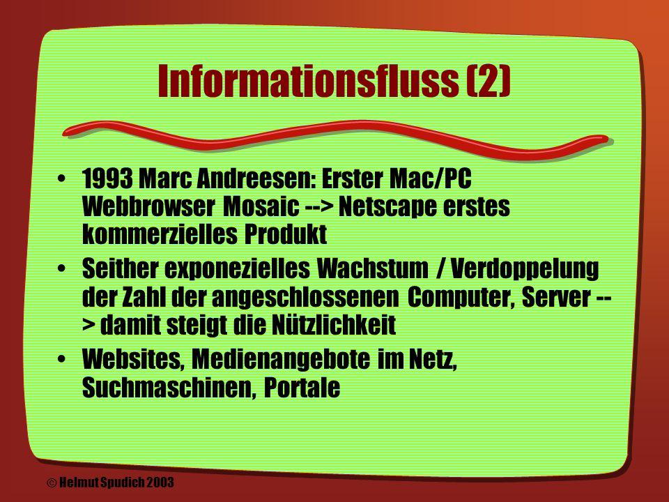Informationsfluss (1) Wissenssammlungen, Enzyklopädien Theorien zur Verknüpfung von Informationen, u.a.