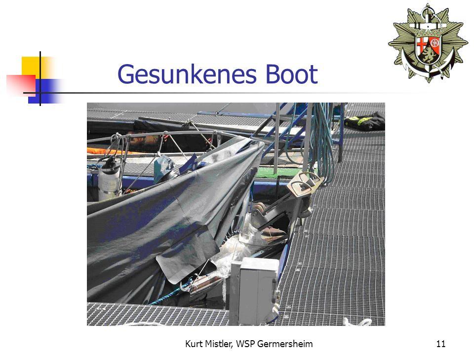 Kurt Mistler, WSP Germersheim10 Absinkvorgang 1.Wasser drückt durch Auslauföffnung ins Bootsinnere 2.Nivellierung erfolgt in Schlauchverbindung (Prinzip der kommunizierenden Röhren) 3.