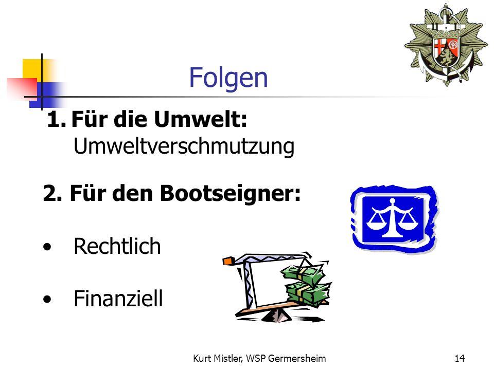 Kurt Mistler, WSP Germersheim13 Vorbeugende Maßnahmen 1.Auslauföffnungen vor Wassereinlauf sichern (Absperrhähne, Rückschlagventile) 2. Überprüfung al