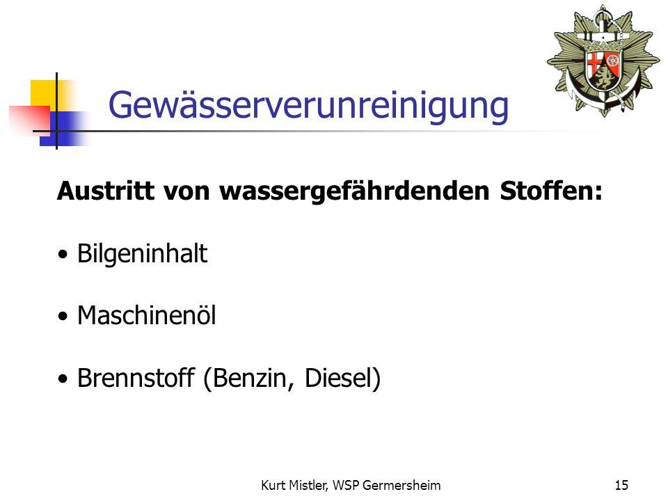 Kurt Mistler, WSP Germersheim14 Folgen 2. Für den Bootseigner: Rechtlich Finanziell 1.Für die Umwelt: Umweltverschmutzung