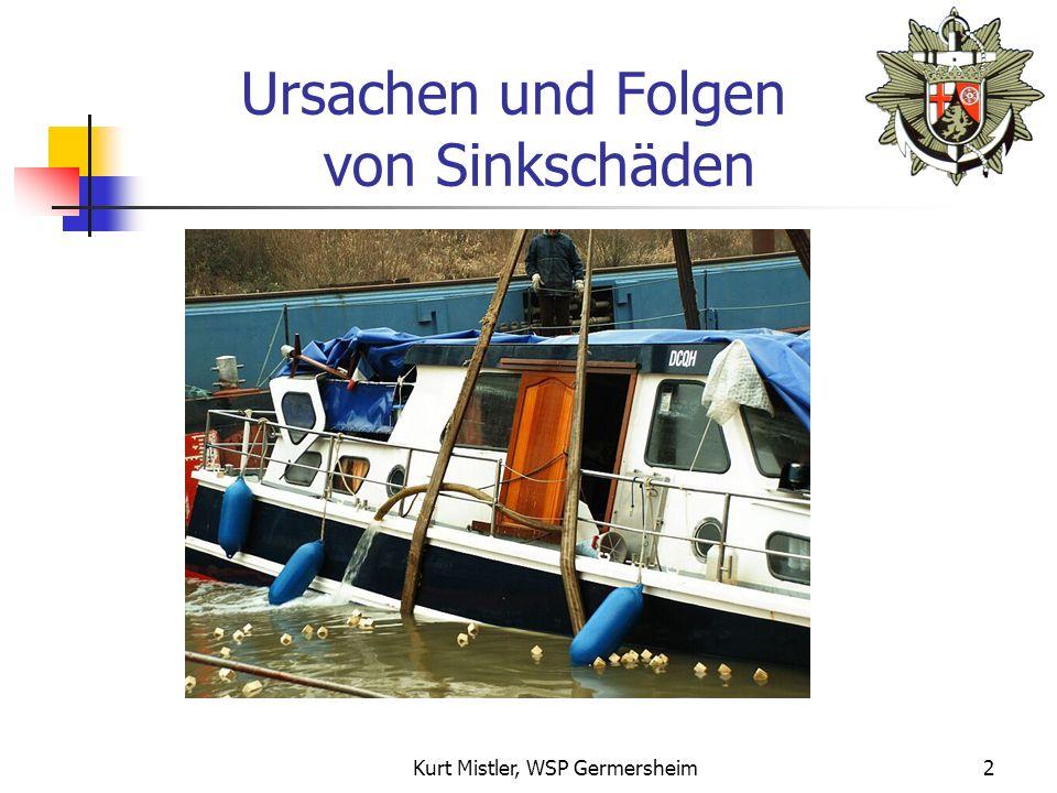 Wasserschutzpolizei Rheinland-Pfalz - Umweltseminar - LV Motorbootsport RLP 25.11.2006 Vorbeugende Maßnahmen zur Verhinderung von Sinkschäden am Liegeplatz Von Polizeihauptkommissar Kurt Mistler Wasserschutzpolizeistation Germersheim