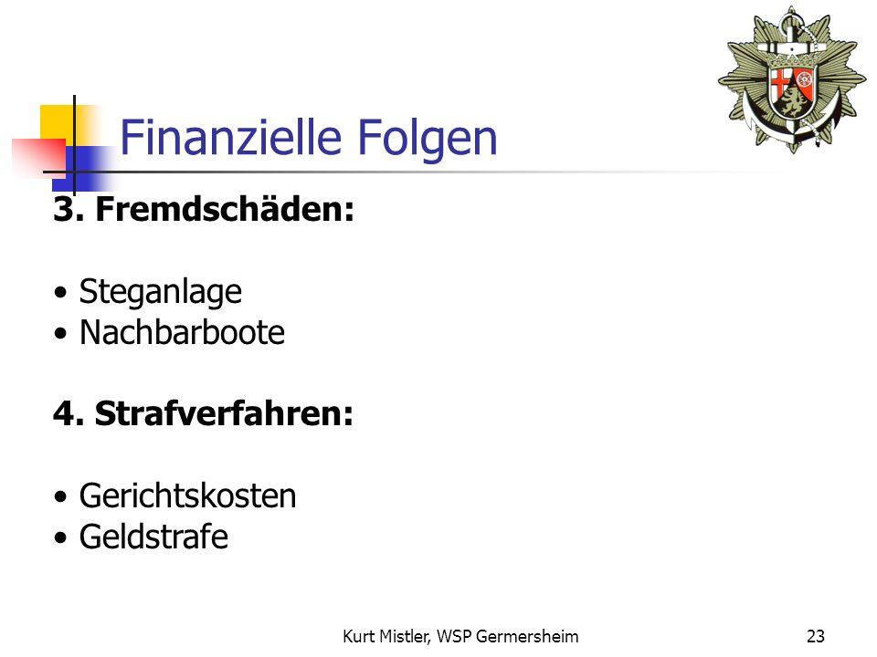 Kurt Mistler, WSP Germersheim22 Finanzielle Folgen 2.Bergungskosten: Feuerwehr (Sicherung, Ölbekämpfung, Bergung) Taucher Schwimmkran Schleppboot Helling Gesamtkosten: Mind.