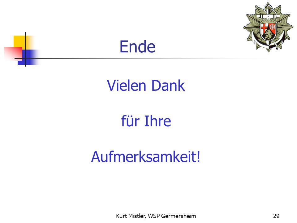 Kurt Mistler, WSP Germersheim28 Empfehlung 1.Vorbeugende Maßnahmen treffen Gefahrenabwehr zur Schadensverhinderung 2. Versicherungsschutz überprüfen -