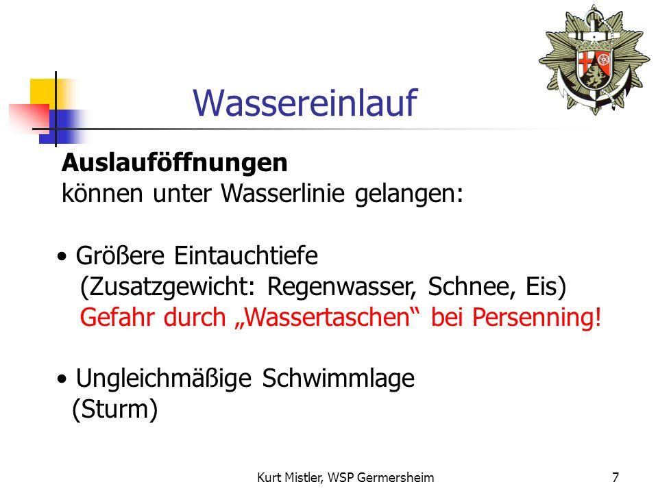 Kurt Mistler, WSP Germersheim6 Gefahr! Je geringer der Abstand zur Wasserlinie, desto größer die Gefahr!