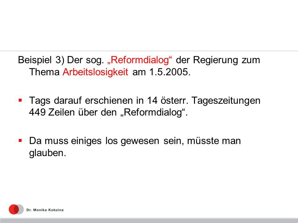 Beispiel 3) Der sog. Reformdialog der Regierung zum Thema Arbeitslosigkeit am 1.5.2005. Tags darauf erschienen in 14 österr. Tageszeitungen 449 Zeilen