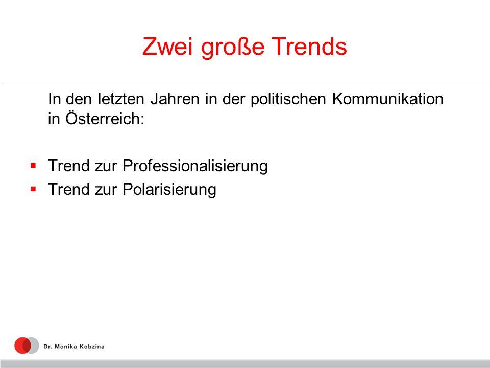 Zwei große Trends In den letzten Jahren in der politischen Kommunikation in Österreich: Trend zur Professionalisierung Trend zur Polarisierung