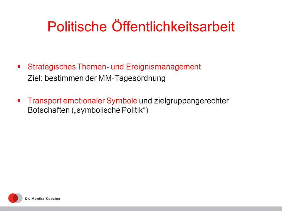 Politische Öffentlichkeitsarbeit Strategisches Themen- und Ereignismanagement Ziel: bestimmen der MM-Tagesordnung Transport emotionaler Symbole und zielgruppengerechter Botschaften (symbolische Politik)