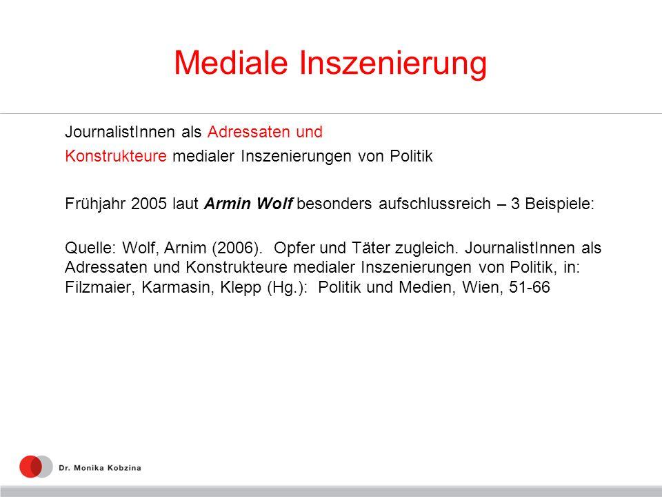 Mediale Inszenierung JournalistInnen als Adressaten und Konstrukteure medialer Inszenierungen von Politik Frühjahr 2005 laut Armin Wolf besonders aufschlussreich – 3 Beispiele: Quelle: Wolf, Arnim (2006).