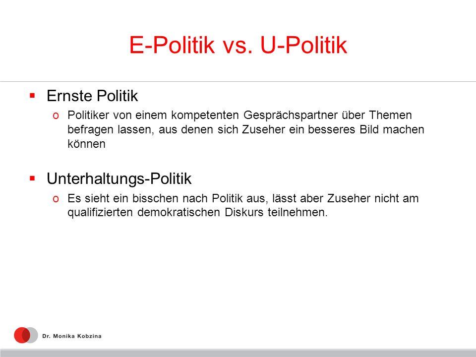 E-Politik vs. U-Politik Ernste Politik oPolitiker von einem kompetenten Gesprächspartner über Themen befragen lassen, aus denen sich Zuseher ein besse