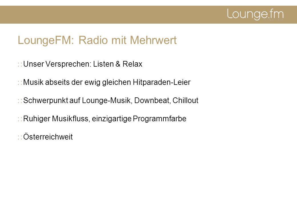 LoungeFM: Radio mit Mehrwert Unser Versprechen: Listen & Relax Musik abseits der ewig gleichen Hitparaden-Leier Schwerpunkt auf Lounge-Musik, Downbeat, Chillout Ruhiger Musikfluss, einzigartige Programmfarbe Österreichweit