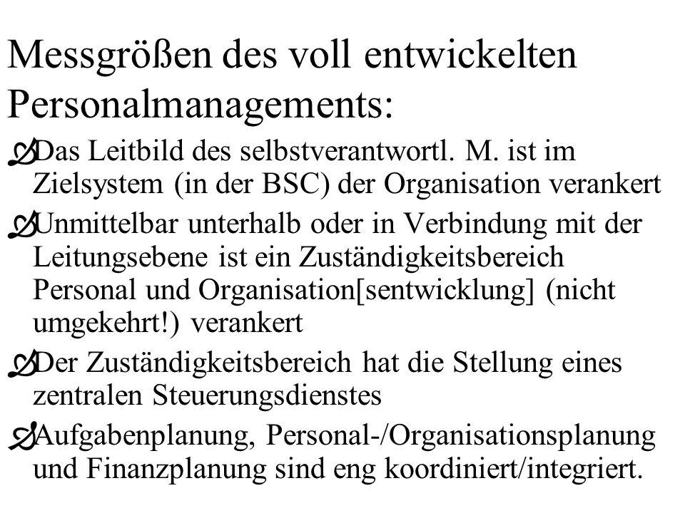 Messgrößen des voll entwickelten Personalmanagements: ÒDas Leitbild des selbstverantwortl.