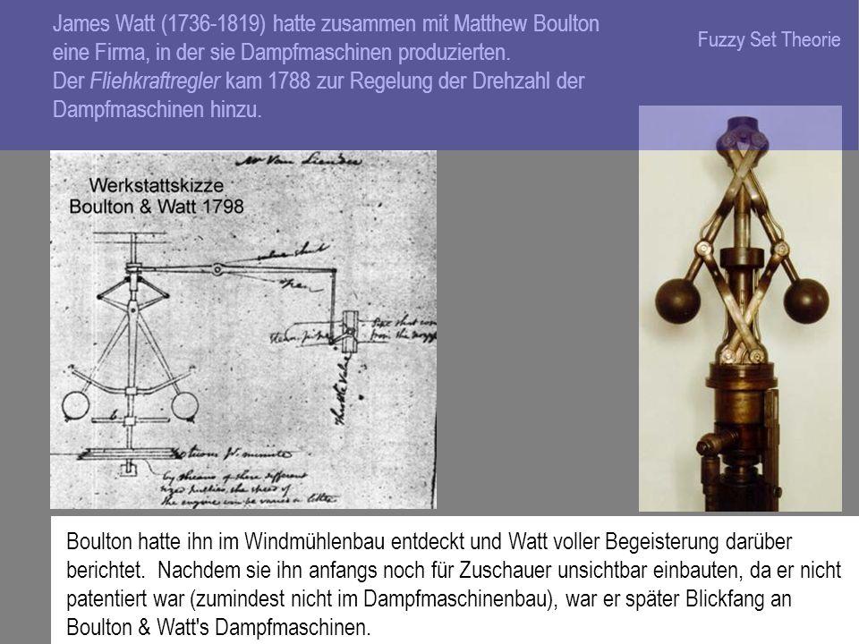 James Watt (1736-1819) hatte zusammen mit Matthew Boulton eine Firma, in der sie Dampfmaschinen produzierten. Der Fliehkraftregler kam 1788 zur Regelu