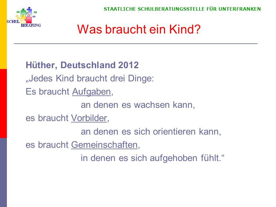 STAATLICHE SCHULBERATUNGSSTELLE FÜR UNTERFRANKEN Was braucht ein Kind? Hüther, Deutschland 2012 Jedes Kind braucht drei Dinge: Es braucht Aufgaben, an