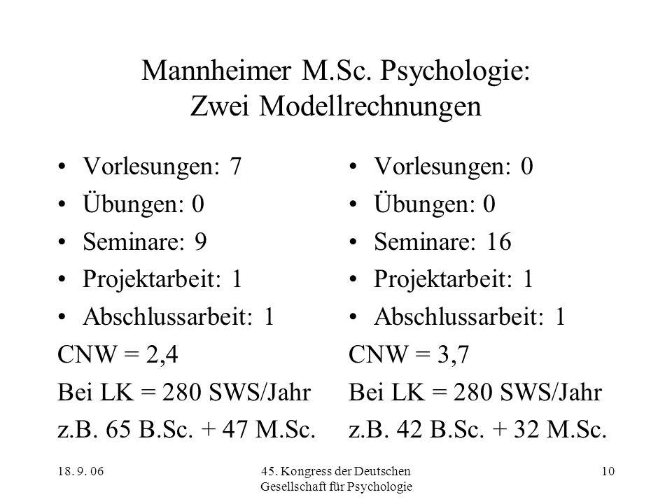 18. 9. 0645. Kongress der Deutschen Gesellschaft für Psychologie 10 Mannheimer M.Sc. Psychologie: Zwei Modellrechnungen Vorlesungen: 7 Übungen: 0 Semi