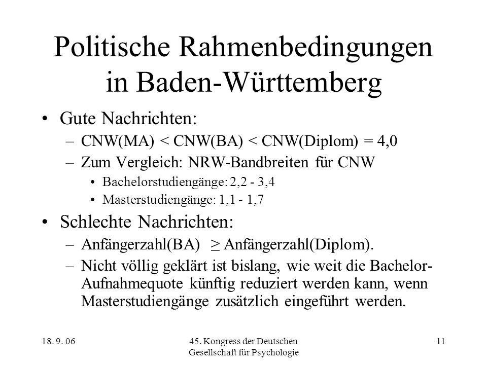 18. 9. 0645. Kongress der Deutschen Gesellschaft für Psychologie 11 Politische Rahmenbedingungen in Baden-Württemberg Gute Nachrichten: –CNW(MA) < CNW