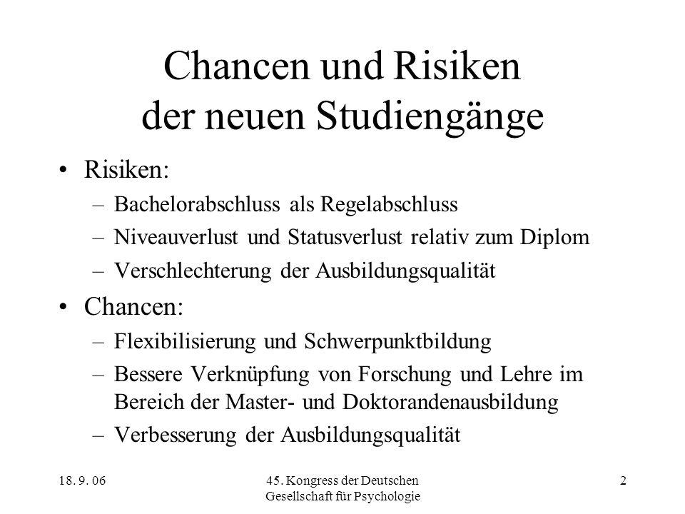 18. 9. 0645. Kongress der Deutschen Gesellschaft für Psychologie 2 Chancen und Risiken der neuen Studiengänge Risiken: –Bachelorabschluss als Regelabs
