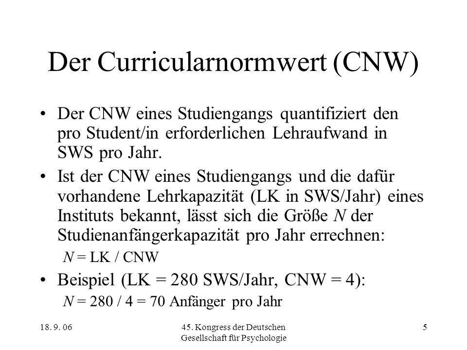 18. 9. 0645. Kongress der Deutschen Gesellschaft für Psychologie 5 Der Curricularnormwert (CNW) Der CNW eines Studiengangs quantifiziert den pro Stude