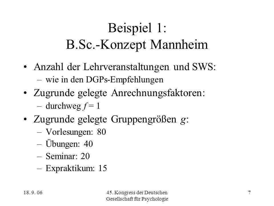 18. 9. 0645. Kongress der Deutschen Gesellschaft für Psychologie 7 Beispiel 1: B.Sc.-Konzept Mannheim Anzahl der Lehrveranstaltungen und SWS: –wie in
